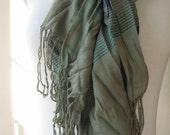 scarf-Plaid-green- scarf Man fashion-mad- cotton mens scarf Turkey spring FASHION crinkle cotton Turkish Scarf scarves gift for him