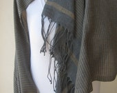 Gray beige camel brown stripe SHAWL / Scarf Unisex woman  Man fashion- gifts for grandpa,father-Hijab