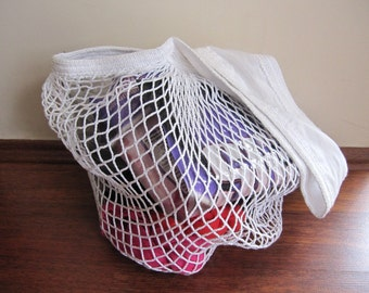 White collapsible cotton tote bag / shopping market bag  crochet-natural-environment -user friendly reusableTurkish Anatolian Turkey