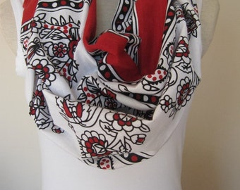 Ethnic Turkish scarf-infinity scarf Red black white scarf- women's scarves -cotton fabric Turkish traditional circle scarf- loop scarf gifts