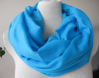 turquoise blue infinity woman scarf, pink cotton gauze yemeni fabric Turkish women's scarves, tube,  circle any color made to order