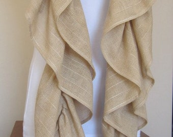 camel brown long ruffle gauze -linen scarf- Hollywood fashion haute couture Handmade Turkish womens scarves