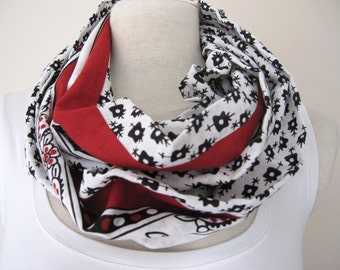infinity scarf Red black white womens scarves cotton fabric Turkish traditional tube circle loop
