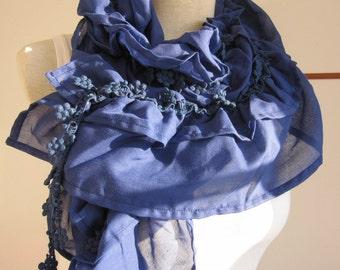 Turkish Turkey woman scarf - Ruffled Scarf women fashion, Extra Long navy blue gauze cotton scarf ,lace edge scarf, fringe scarf Woman scarf