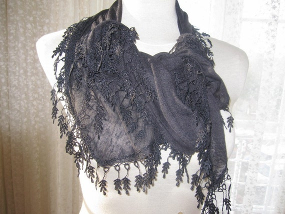 Black woman scarf lace fringe-2012 trends-womens scarves Turkish scarf lovely shabby elegant bridesmaid gifts gown belt headband