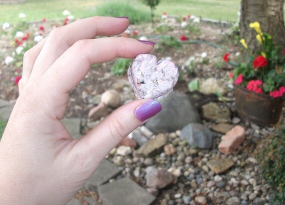 Wildflowers Fragrant  - 8 Pink-ish Heart Paper & Dryer Lint Seed Bombs for Guerilla Gardening