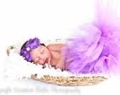 Pretty Purple Tutu Set Baby tutu Newborn tutu photography prop with double rosette rhinestone headband
