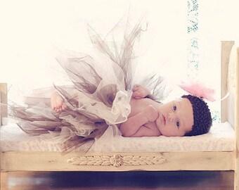 Vintage Photography prop brown and ivory tutu crochet pink flower tutu set baby tutu newborn tutu