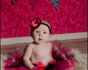 Pink and Black Tutu Set Newborn tutu baby tutu satin posie elastic headband photography prop
