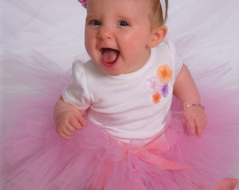 Baby Pink Tutu Newborn Photography prop with matching Satin Crinkle Headband newborn-5t available