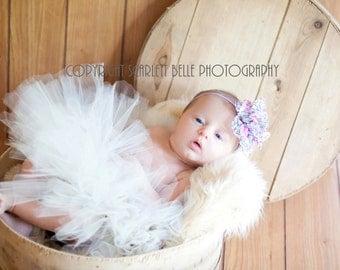 Elegant Ivory Tutu Newborn Photo Prop Newborn tutu with Matching Chiffon Floral Print Cluster FLower on Skinny Elastic  Newborn- 2t