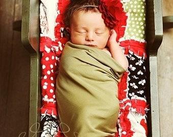 Baby Headband, Red Headband, Christmas headband-Red Satin Cluster Headband on Brown Skinny Elastic  Newborn Photo Prop Newborn Headband