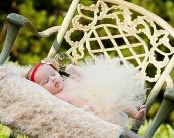 Sandy Beige Newborn Tutu Newborn Photography Prop with Matching Satin Mesh Cluster on Red Elastic Newborn-5t