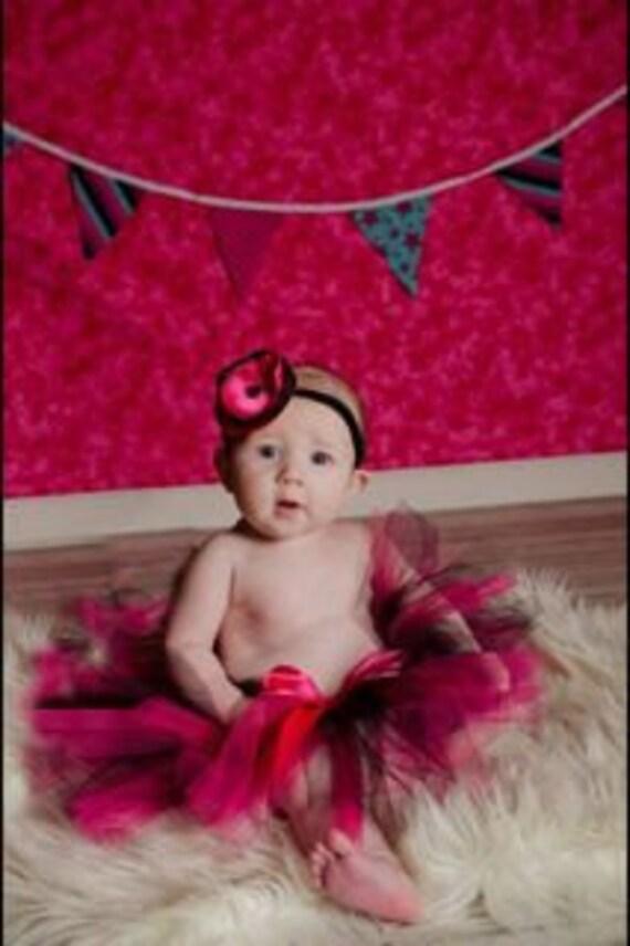Pink and Black Tutu Set Newborn tutu baby tutu satin posie elastic headband photography prop