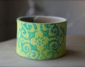 Reclaimed Leather Statement Wrist Cuff- Bracelet- Hand Painted- Lime Green and Teal