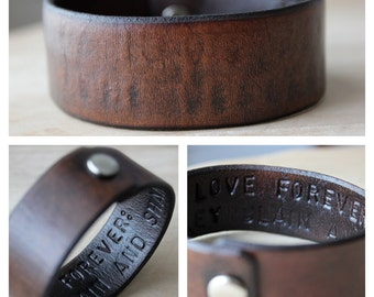 Hidden Message Leather Wrist Cuff Bracelet- Personalized - Made to Order