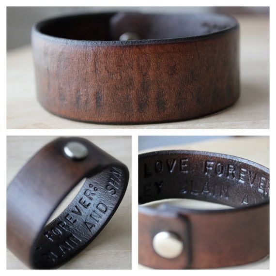 Hidden Message Mens Leather Wrist Cuff/Bracelet- Personalized with Your Text and Color- Father- Dad- Boyfriend- Fathers Day- Husband- Friend