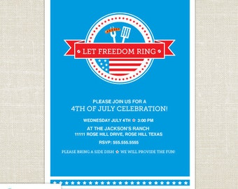 4th of July Invitation - 4th of july printable - BBQ invitation - Independence Day - Patriotic - Red - White - Blue - Stars - DIY Printable