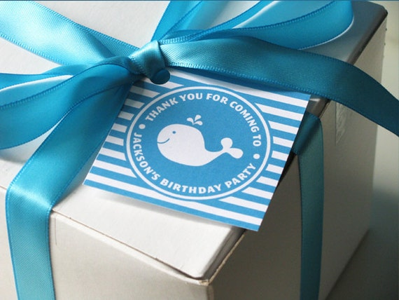 Whale Birthday - Favor Tag - Gift Tag - Printable Party - Whale Baby Shower - First Birthday - 1st, 2nd, 3rd birthday - DIY Printable