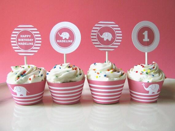 Elephant birthday - Cupcake Toppers - printable party - First birthday - Printable Party Circles - Printable Party Logos - DIY Printable