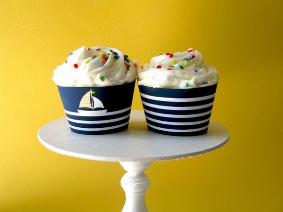 Nautical Printable Party - baby shower - Cupcake Wrappers -  sail boat - 1st, 2nd, 3rd birthday - Boy - Girl - DIY Printable