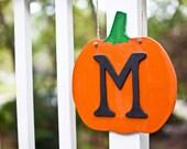 Wooden Pumpkin - Fall Door Decor - Initial Door Hanger
