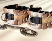 Bondage Cuffs in Champagne Satin Velvet Ruffle - Handcuffs or Ankle Cuffs