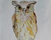 Extraordinary Owl / Hand painted original watercolour with liquid gold