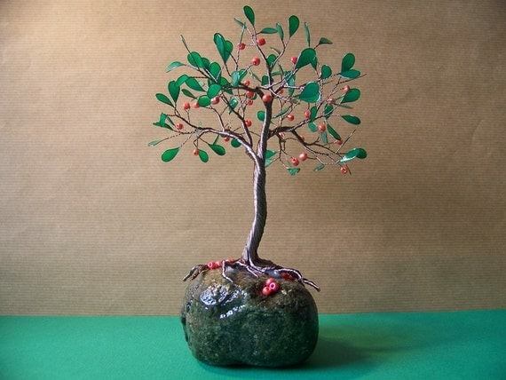 Wire Apple Tree Of Life Sculpture on Nature Stone Orange Beads Original Art
