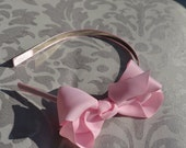 Pink Bow On Satin Lined Headband... Infant Headband...Toddler Headband... Adult Headband... Pink Bow