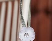 White and Silver Sequin Daisy On A Silver Glitter Elastic Headband... Infant Headband... Toddler Headband...Adult Headband