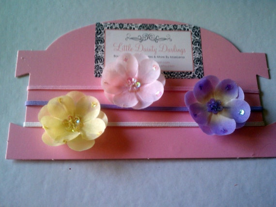 Trio of Sequin Flowers Infant Toddler Adult Headbands Or Flower Clips