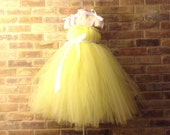 Yellow and White Princess TuTu dress Toddler 2 to 5 years Flowergirl Pageant Party