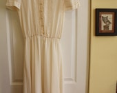 Vintage White/Cream Semi-Sheer Dress with Collar and Embroidered Accents