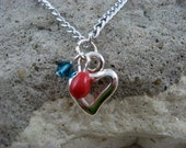 Red and Aqua Heart Necklace