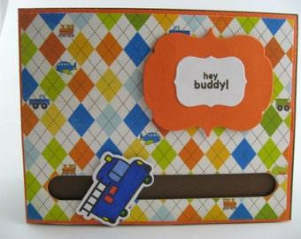 Interactive Boy Birthday Card Featuring a Spinning Firetruck