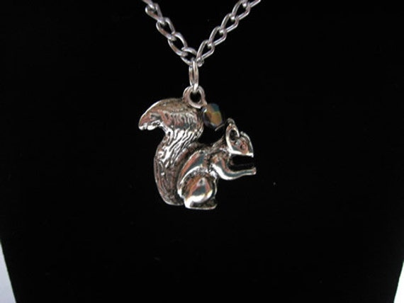 Squirrel Necklace with Crystal Accent