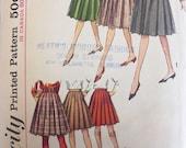Vintage 1959  Simplicity Pattern 5033- Ladies Pleated Skirt 2 lengths-Pattern- Waist Size 28
