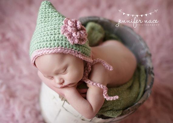 CROCHET PATTERN & Video Tutorial - Flower Pixie Bonnet - 8 sizes: newborn, 0-3 mo, 3-6 mo, 6-12 mo, 12-24 mo, 2T-4T, 5T-Preteen, Teen/Adult