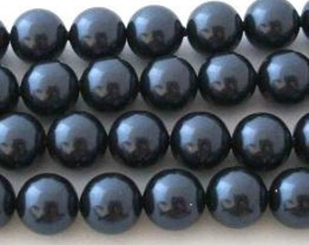50 SWAROVSKI Crystal Pearl Beads 5810 6mm NIGHT BLUE