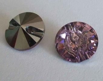 4 Swarovski 3015 Crystal Beads Button 12mm LIGHT AMETHYST
