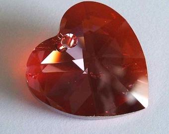 1 Large SWAROVSKI 6202 Heart Crystal Bead 40mm RED MAGMA