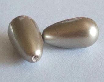 2 SWAROVSKI Half Drilled Pearl Drop 5816 15mm PLATINUM