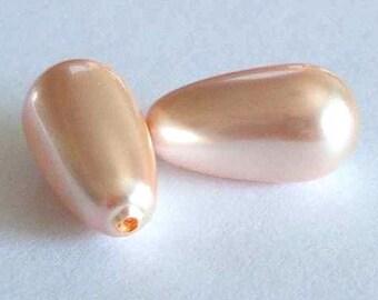 2 SWAROVSKI Half Drilled Pearl Drop 5816 15mm PEACH