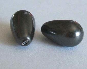 2 SWAROVSKI Half Drilled Pearl Drop 5816 15mm BLACK