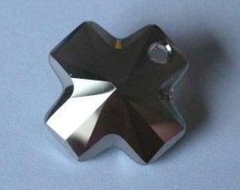 1 SWAROVSKI 6866 Cross Crystal Pendant 20mm METALLIC SILVER