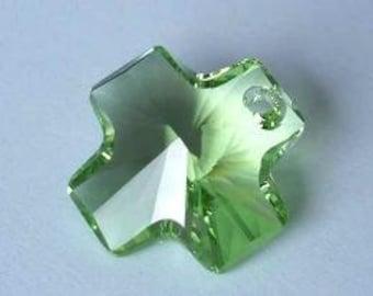 6 Pcs SWAROVSKI 6866 Cross Crystal Pendant 20mm PERIDOT