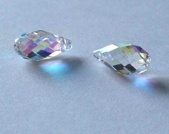 2 SWAROVSKI 6010 Briolette Crystal Beads 11mm CRYSTAL AB