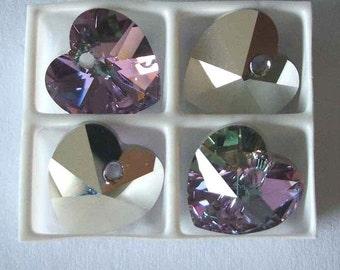 4 SWAROVSKI 6228 Heart Crystal Pendant Bead 10mm VITRAIL LIGHT