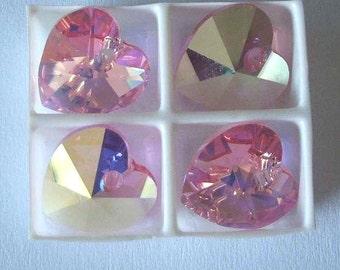 4 SWAROVSKI 6202 Heart Crystal Pendant Bead 10mm Light ROSE AB